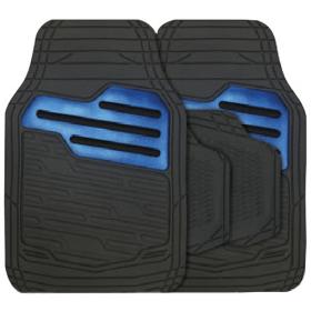 Rubber automatten set universeel - Zwart / Blauw 1