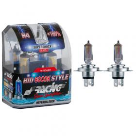 Xenonlook lampen Halogeen 'HID Style' H4 (6000K) Hyperwhite 12V/60-55W, set à 2 stuks ECE-R37