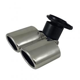 Uitlaatsierstuk RVS Verstelbaar 2x ovaal - passend 45-58mm