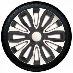 wieldoppen zilver zwart design 16 inch